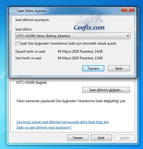 Windows7 kış saati uygulaması nasıl kapatılır?