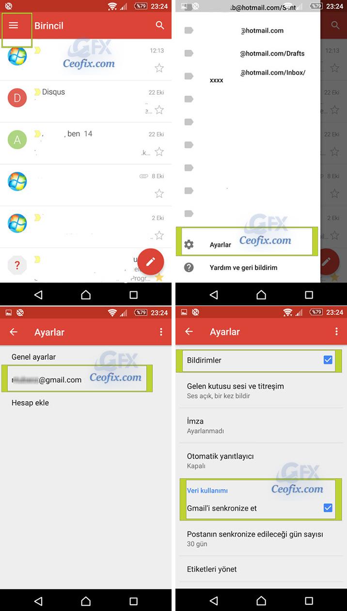 Android'de Gmail Bildirimleri Gelmiyor
