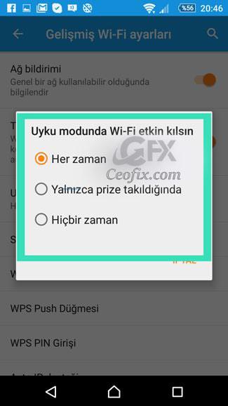 Uyku Modunda Wi-Fi etkin