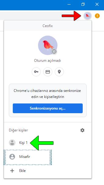 Google Chrome'a Kişi Ekle