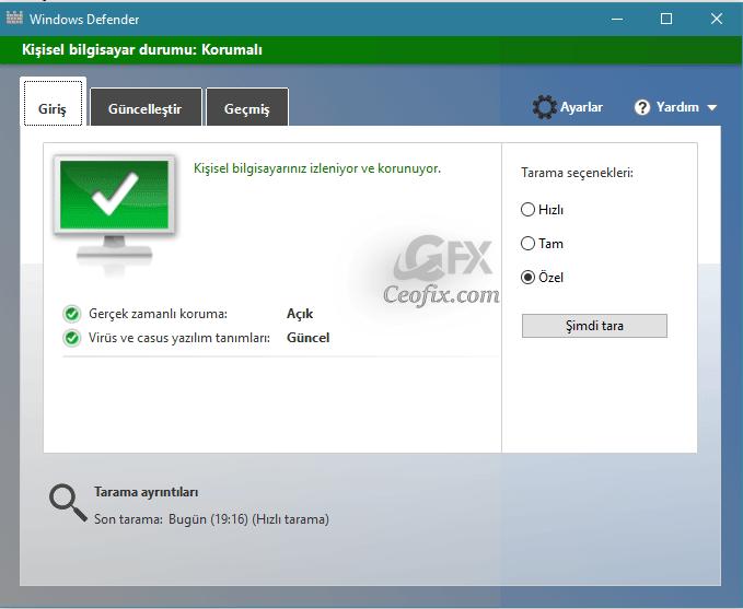 Windowsu 10 u Ücretsiz Olarak Virüsden Koruyun