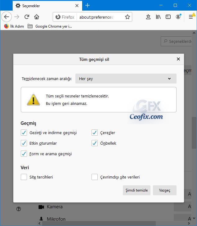 Mozilla tarayıcıdageçmişi temizleme
