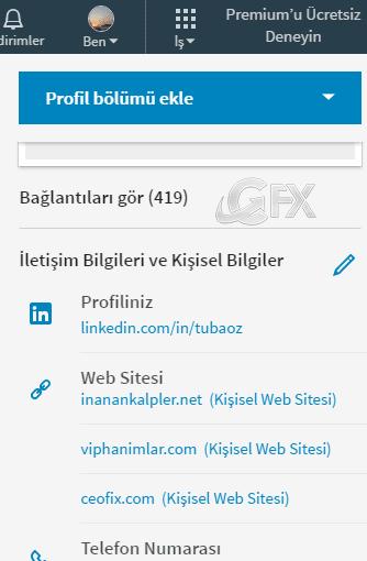 Linkedin de İletişim bilgilerini düzenleme: