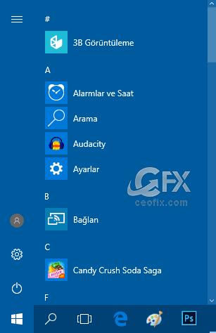 Windows 10 Başlat Menüsü Yeniden Boyutlandır Özelleştir