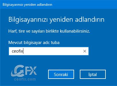 Bilgisayar İsmi Ve Kullanıcı İsmi Nasıl Değiştirilir