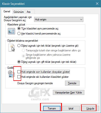 Windows 10 Son Açılan Dosyaları Gösterme-Gizleme Ve Silme