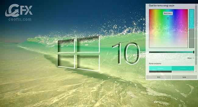 Windows 10'da Başlat Menüsü ve Görev Çubuğu Rengini Değiştir
