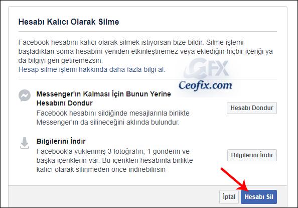 Facebook Hesap sil