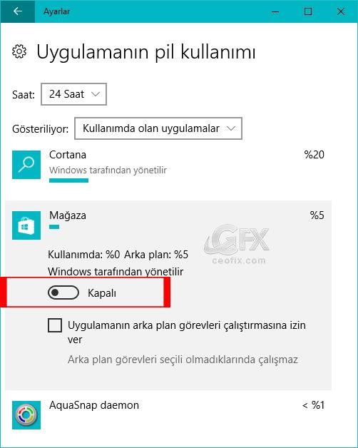 Windows 10 da Uygulamaların Pil Kullanımı