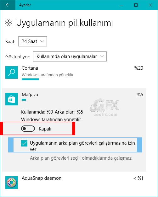 Windows 10 da Uygulamaların Pil Kullanımı Nasıl Yönetilir