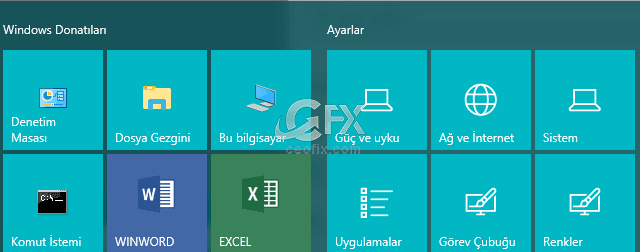 Windows 10'da Başlat Menüsü