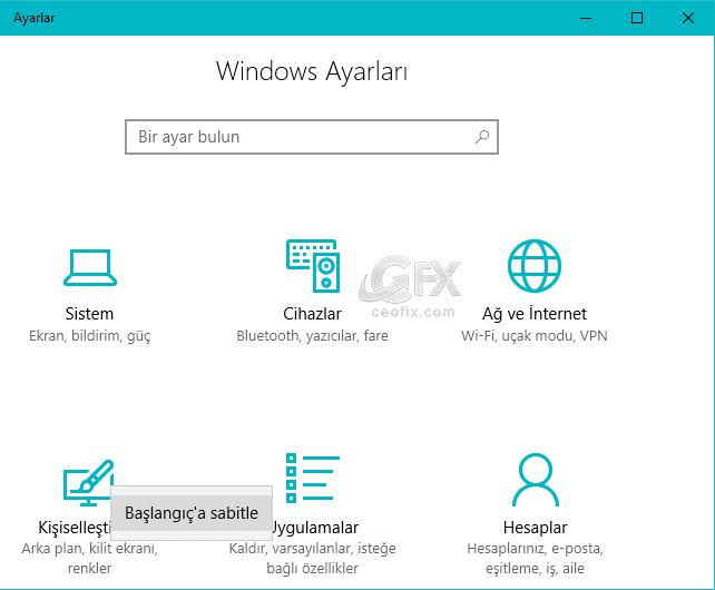 Windows 10'da Başlat Menüsüne Önemli Ayarları Ekleme: