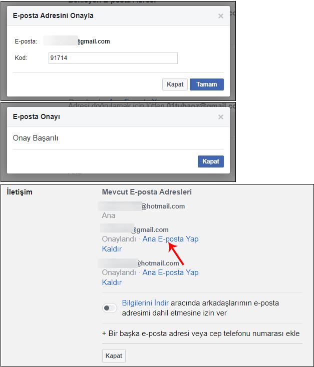Facebook mevcut e-posta değiştir