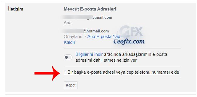e-posta adresi veya cep telefonu numarası ekle