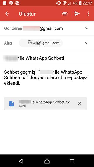 Whatapp Sohbetini Mail'e Gönder