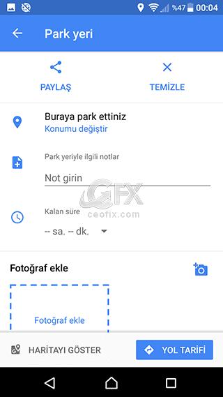 Google Haritalar Park Yeri