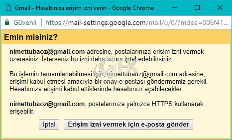 Gmail hesabına erişim izni verme!