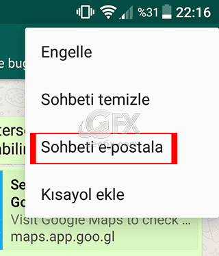 Whatapp Sohbetini Mail Adresine Gönder