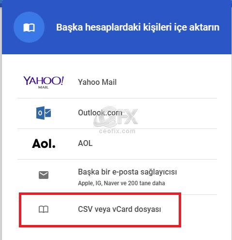 telefon rehberini CSV vcard olarak aktar