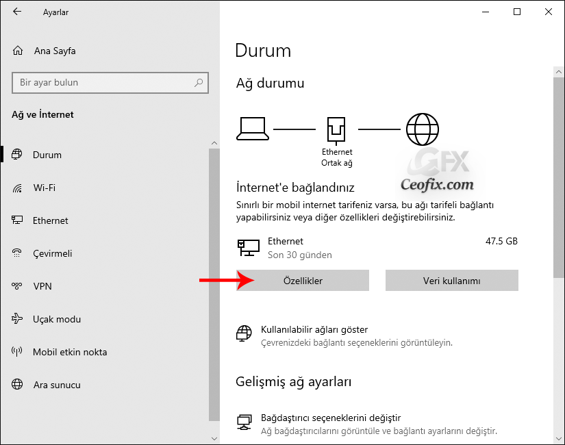 Windows 10 İnternet Ağını Özel Yada Ortak Ağ Olarak Ayarlarını yapılandır: