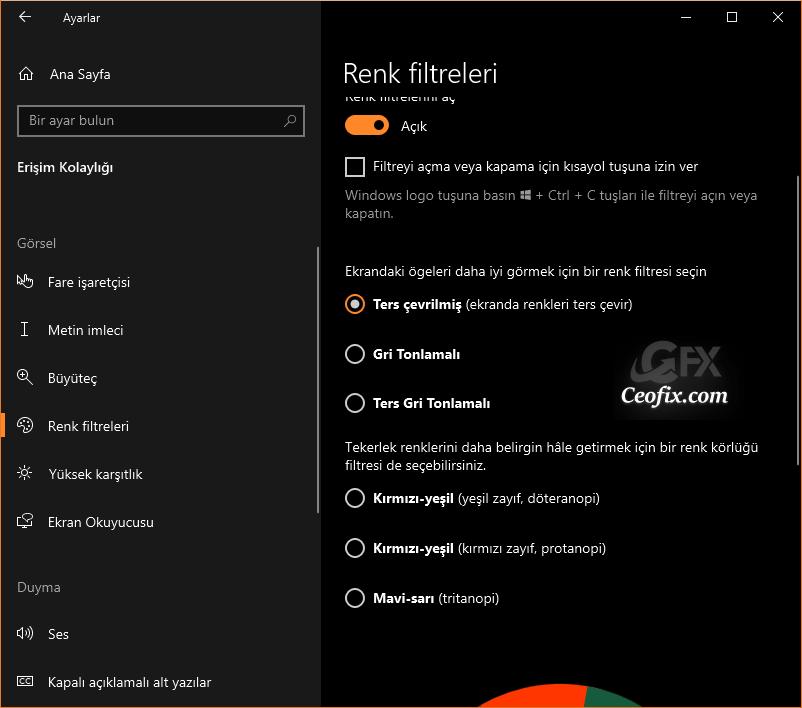 windows 10 renk filtreleri nerededir?
