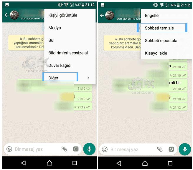 Whatsapp Sohbeti temizle
