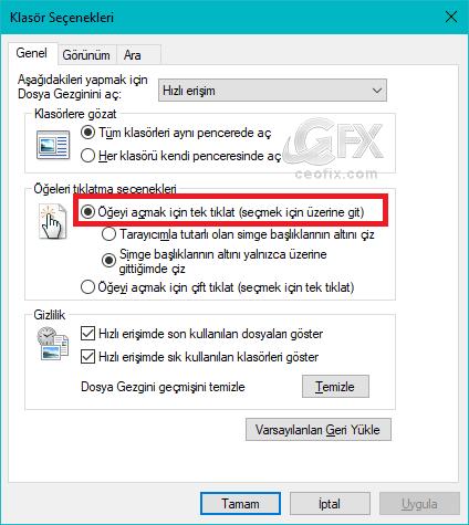 Windowsda Dosya ve Klasörler Tek Tık İle Nasıl Açılır?