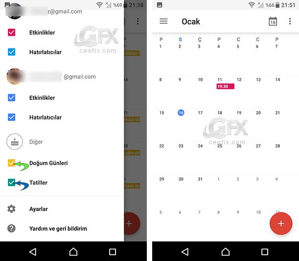 Android'de Takvim Etkinlikleri Ve Hatırlatıcı Renk Ayarları