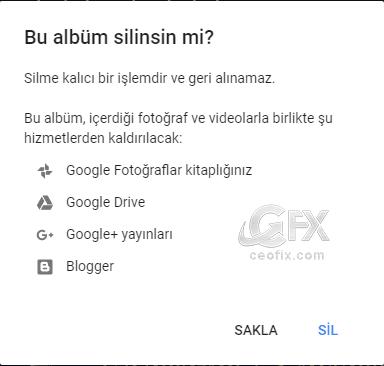 Google Drive'a yüklenen resim yedekleri alma yada kalıcı silme: