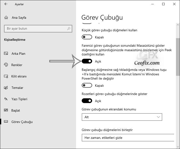 Windows 10'da Masa Üstü Ön İzleme Nasıl Aktif Edilir