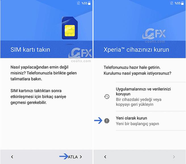 Android telefon yeni kurulum
