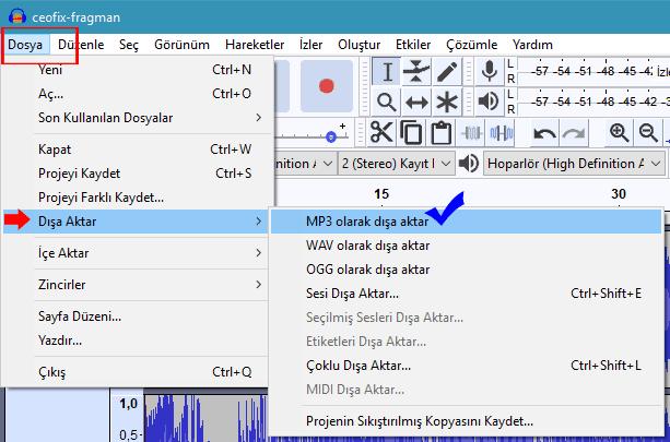 Audacity İle Her Ses Formatını MP3'e Çevir