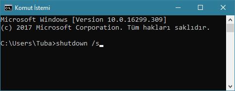 Windows'u cmd ile kapat