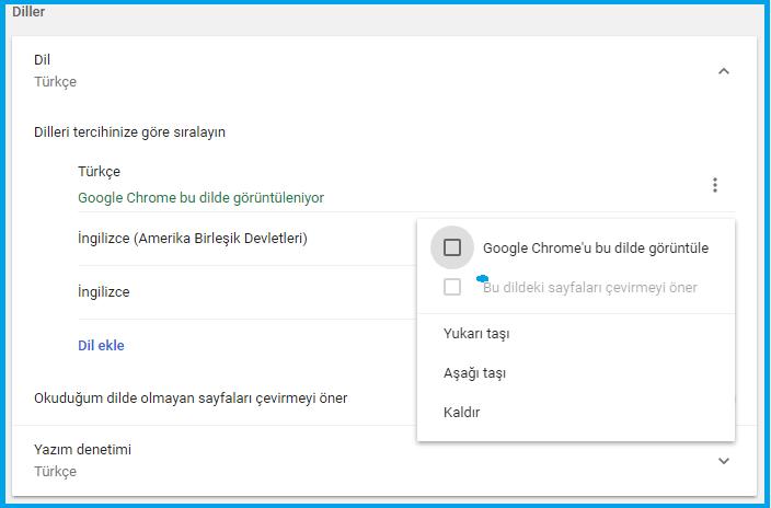 Chrome Tarayıcıda Görüntüleme Dili Nasıl Değiştirilir?