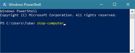 Windows'u power shell ile kapat