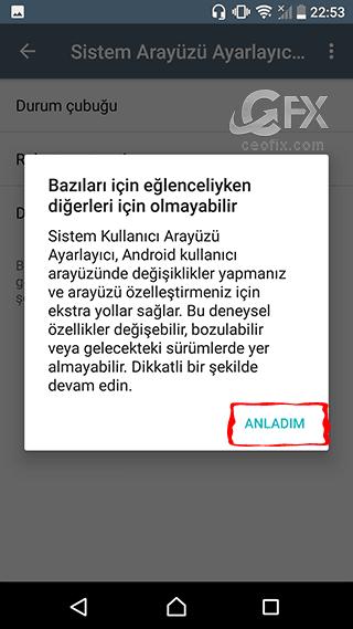 Android'de sistem arayüzü nasıl açılır?