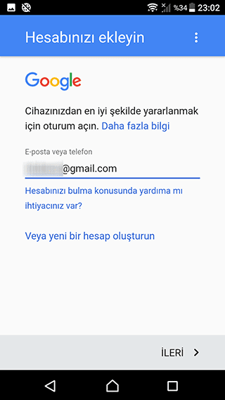 Android telefona Gmail hesabı ekle
