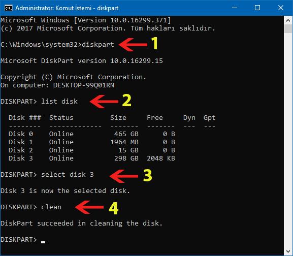 diskpart komutları disk silme işlemi-www.ceofix.com