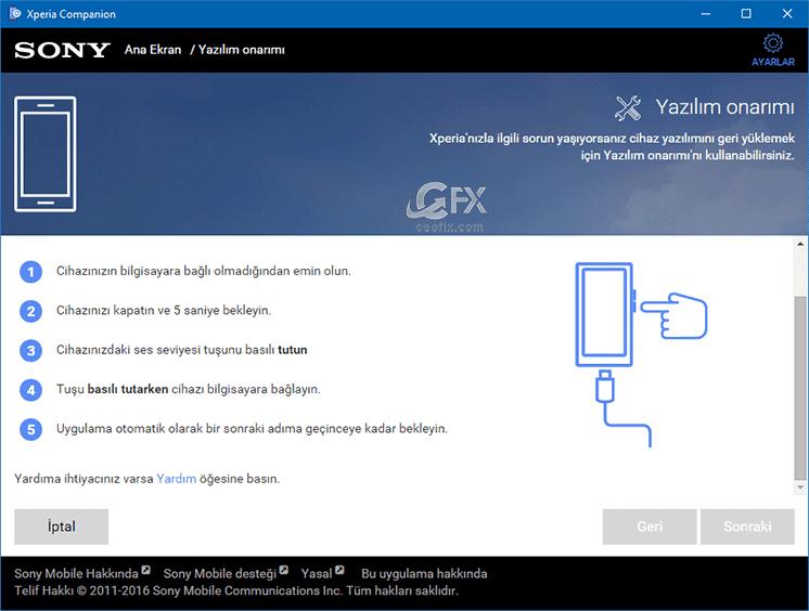 yazılım onarım ekranı.