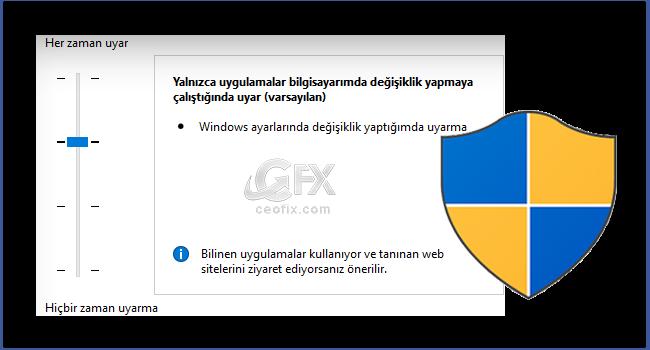 Windows'da Kullanıcı Hesabı Denetimi Açma Ve Kapatma