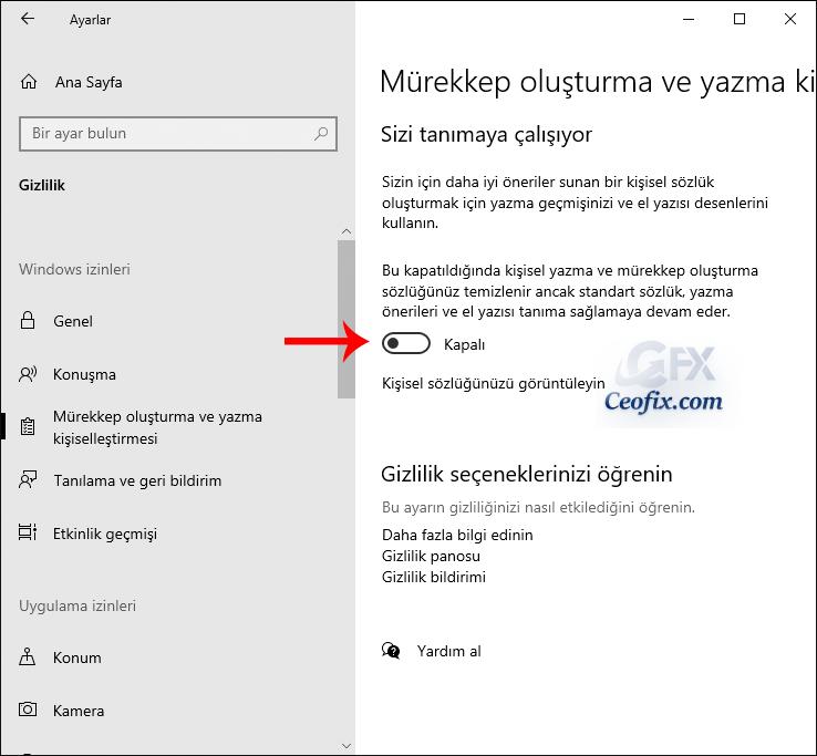 Windows 10 mürekkep oluşturma ve yazma