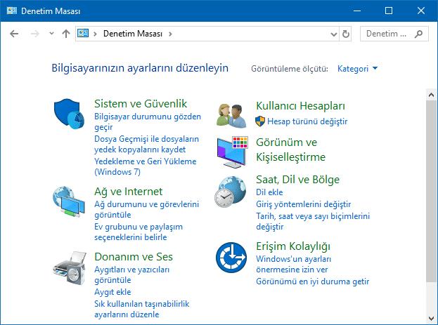 Windows'da Denetim Masası kategori