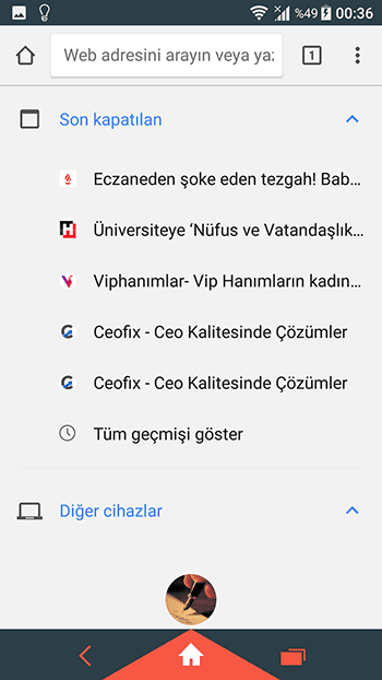 Google chrome son sekmeler