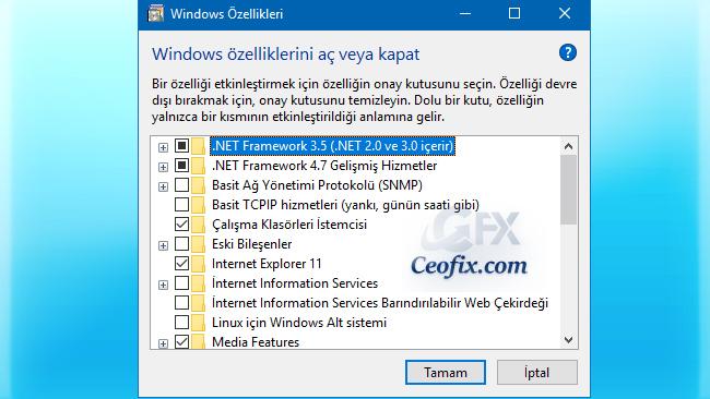 Windows Özelliklerini Tek Tık İle Aç