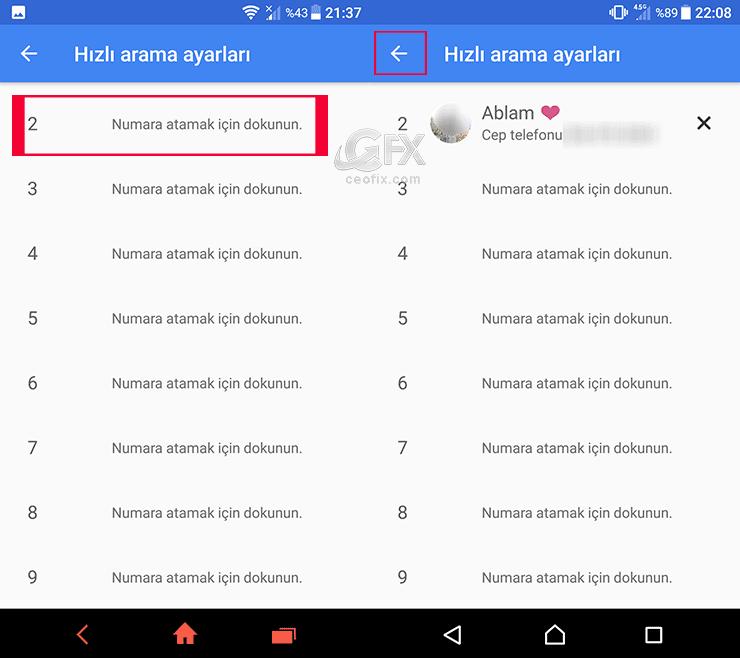 android hızlı arama ayarları