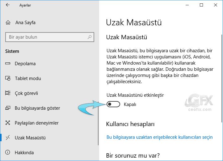 Windows'da Uzak Masaüstü Bağlantısını Etkinleştir Yada Devre Dışı Bırak