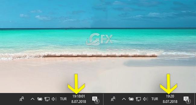 Windows'da Görev Çubuğunda Saati Saniye İle Göster