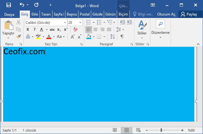 Word'de Sayfanın Arka Plan Rengini Değiştir