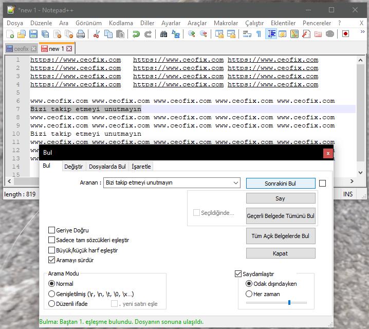 NotePad Plus İle Belgede Benzer Cümle Arama