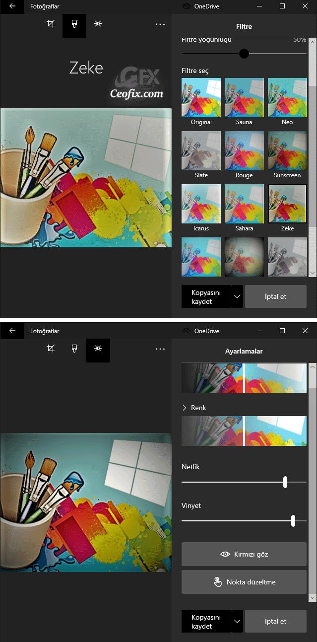 Resim renklerini değiştirmek için Filtreler uygula